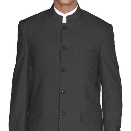 Men's Vintage Style Suits, Classic Suits Mens Mandarin Black Pinstripe 5 Button Banded Collar 4 Piece Suits $151.00 AT vintagedancer.com