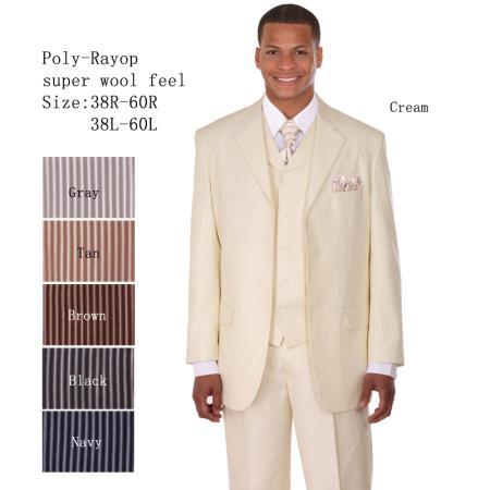 Mens 3 Piece 33'' Jacket with Double Vents Suit Bold Pencil Stripes Cream