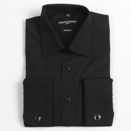 Dark color black french cuff big tall dress shirt for Big and tall french cuff dress shirts