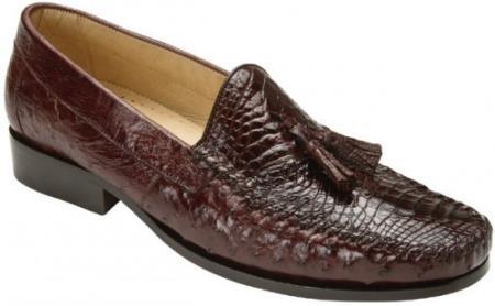 60s Mens Shoes | 70s Mens shoes – Platforms, Boots Belvedere Bari Brown Genuine AlligatorOstrich Skin Loafer Shoes $380.00 AT vintagedancer.com