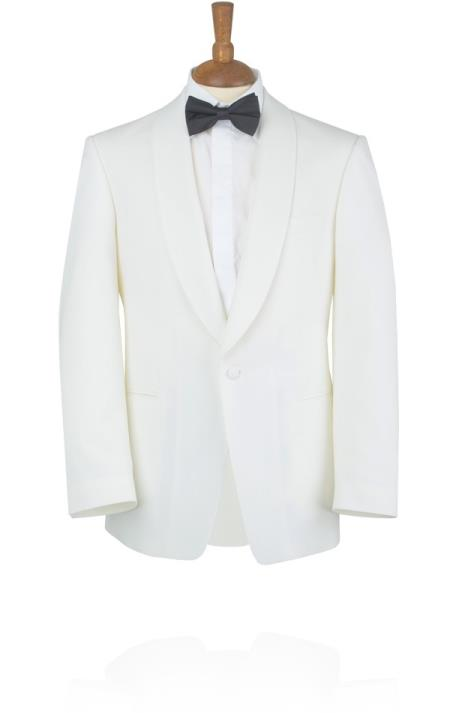 1950s Tuxedos and Men's Wedding Suits White Tuxedo Jacket with Shawl Lapel  46S $251.00 AT vintagedancer.com