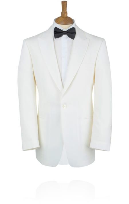 1950s Mens Suits & Sport Coats | 50s Suits & Blazers White Tuxedo Jacket with Peak Lapel  46S $251.00 AT vintagedancer.com