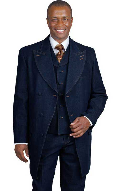 1970s Men's Suits History | Sport Coats & Tuxedos Mens Blue Denim Vested Urban Suit  46S $151.00 AT vintagedancer.com