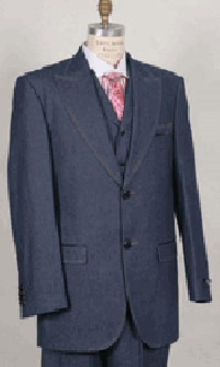 1970s Men's Suits History | Sport Coats & Tuxedos Mens Blue Wide Lapel 3 Piece Jean Fashion Suit  46S $151.00 AT vintagedancer.com