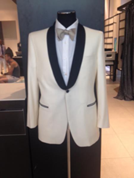 1960s Mens Suits | Mod, Skinny, Nehru Mens Formal Ivory Cream White Dinner Jacket Tuxedo Blazer Sport Coat $197.00 AT vintagedancer.com
