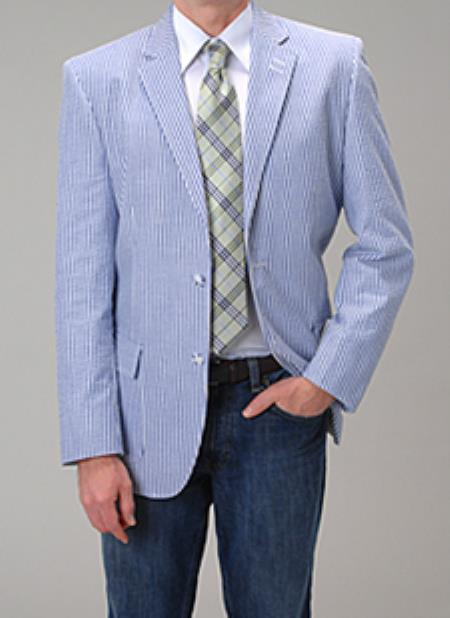 1970s Men's Suits History | Sport Coats & Tuxedos Affazy Blue Seersucker Blazer  46S $141.00 AT vintagedancer.com