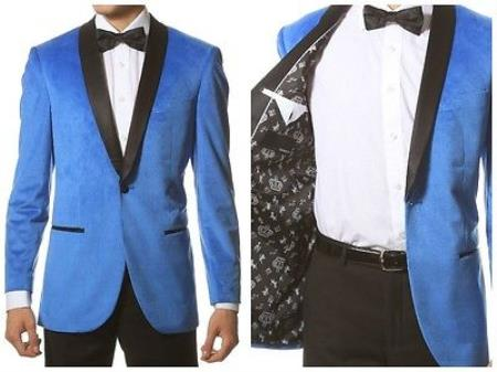 1950s Tuxedos and Men's Wedding Suits Mens 1 Button Velvet Tuxedo Black Shawl Jacket Sport Coat Blue $152.00 AT vintagedancer.com