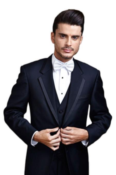 1960s Mens Suits | Mod, Skinny, Nehru Midnight blue tuxedo-Midnight Blue Edge Two Button Tuxedo  46S $221.00 AT vintagedancer.com