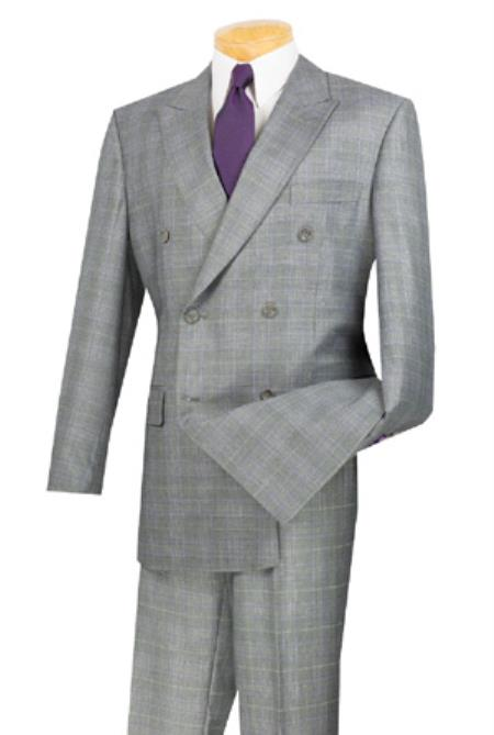 Men's Vintage Style Suits, Classic Suits Double Breasted Window Pane Texture Sport Blazer Pattern Fabric Gray $187.00 AT vintagedancer.com
