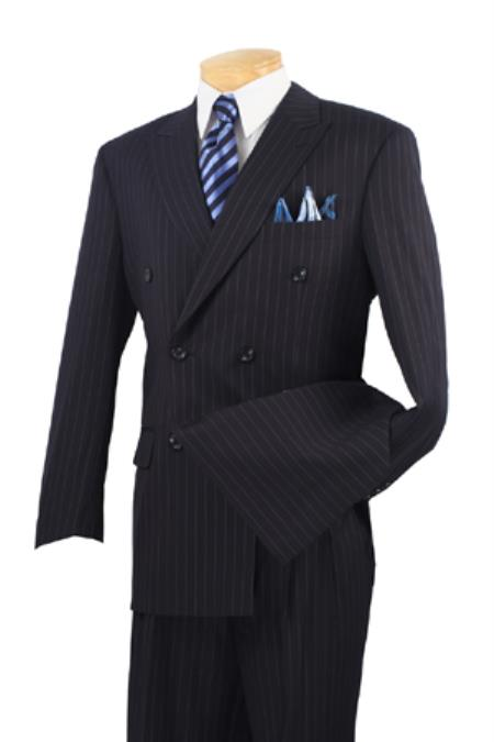 1940s Mens Suits | Gangster, Mobster, Zoot Suits Executive 2 Piece Suit Navy 46S $161.00 AT vintagedancer.com