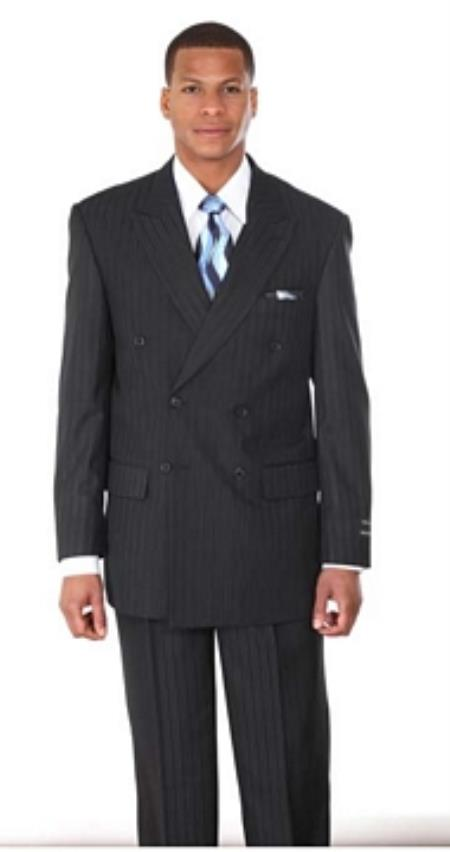 1940s Mens Suits | Gangster, Mobster, Zoot Suits Double Breasted Pintstripe Suit Navy 46S $161.00 AT vintagedancer.com