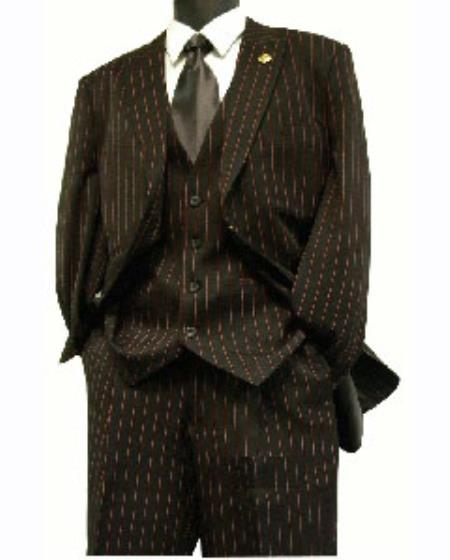 1940s Men's Suit History and Styling Tips Zoot Suit By Milano Moda Black Red Gangster Stripe 3 Piece 46S $167.00 AT vintagedancer.com
