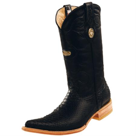Wh-Dimond Western Cowboy Boot Bota Piton Horma Chihuahuae Negro