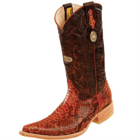 Wh-Dimond Western Cowboy Boot Bota Piton Horma Chihuahua Cognac