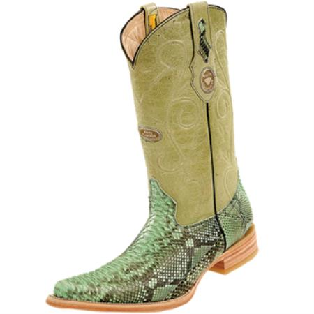 Wh-Dimond Western Cowboy Boot Bota Piton Horma Chihuahua Pistachio
