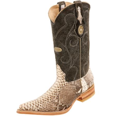 Wh-Dimond Western Cowboy Boot Bota Piton Horma Chihuahua Natural