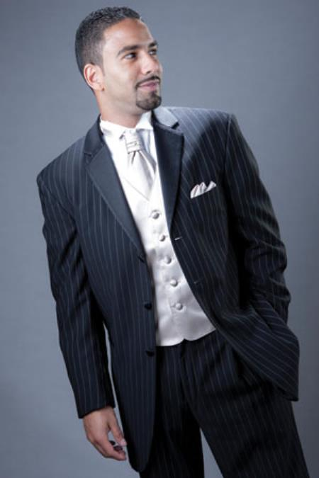 1940s Zoot Suit History & Buy Modern Zoot Suits Pinstriped Tuxedo Suit Navy 52L $592.00 AT vintagedancer.com