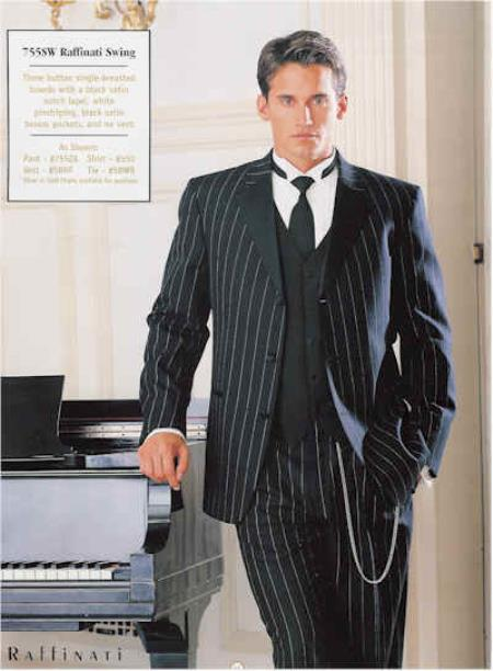 1940s Zoot Suit History & Buy Modern Zoot Suits Pinstriped Tuxedo Suit BlackWhite 44R $592.00 AT vintagedancer.com