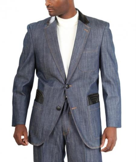 1970s Men's Suits History | Sport Coats & Tuxedos 2Button Suit Leg Pants Cotton Blue Mens Loose Fit Trousers JacketVest $187.00 AT vintagedancer.com