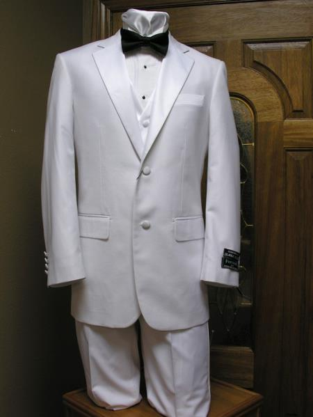 1960s Mens Suits | 70s Mens Disco Suits Two Button Notch Lapel Tuxedo jacket  And Vest Combination White $201.00 AT vintagedancer.com