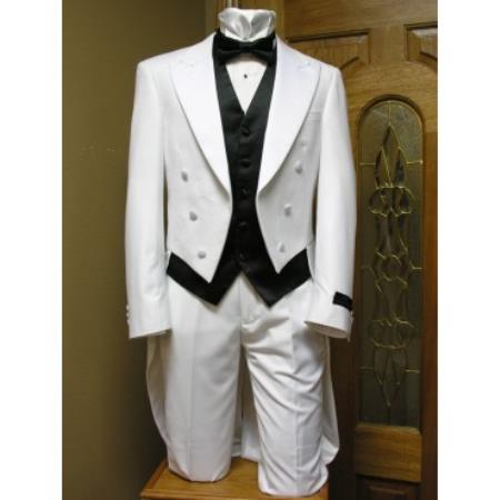 New Vintage Tuxedos, Tailcoats, Morning Suits, Dinner Jackets Tail Tuxedo jacket and pant combination White 46S $201.00 AT vintagedancer.com