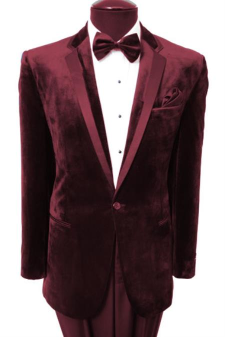 New Vintage Tuxedos, Tailcoats, Morning Suits, Dinner Jackets Mens Velvet Velour Two Button Tuxedo Jacket Black Trim Dark Wine  $167.00 AT vintagedancer.com