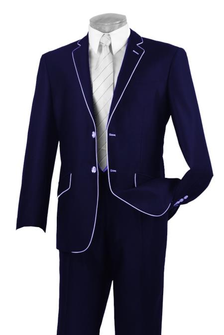 1960s Mens Suits | 70s Mens Disco Suits Mens Two Button Two Toned Suit White Lapeled Tuxedo Dark Blue 42L $592.00 AT vintagedancer.com