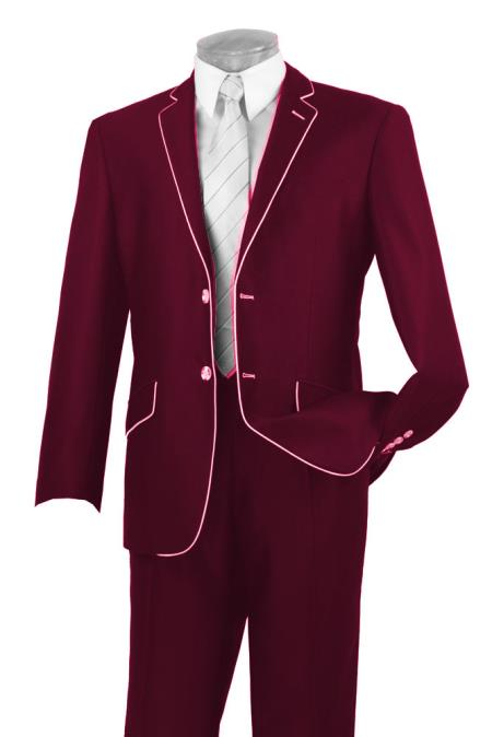 1960s Mens Suits | 70s Mens Disco Suits Mens Two Button Two Toned Suit White Lapeled Tuxedo Burgundy 46S $192.00 AT vintagedancer.com