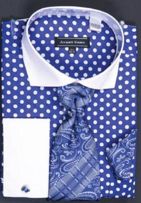 Avanti Uomo Blue Polka Dot Two Tone Design 100 Cotton