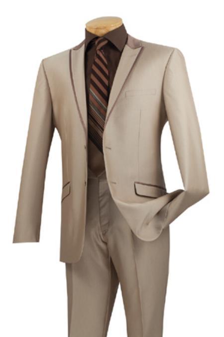 1960s Mens Suits | Mod, Skinny, Nehru Mens Two Button Peak Lapel Tuxedo Trimmed Mens Formal wear Suit Beige $177.00 AT vintagedancer.com
