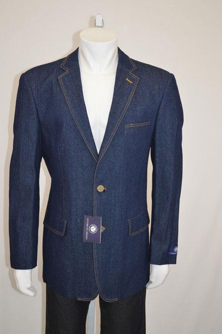 Men's Vintage Style Suits, Classic Suits Two Buttons Denim Blazer with Contrast Stitches Blue 46S $91.00 AT vintagedancer.com