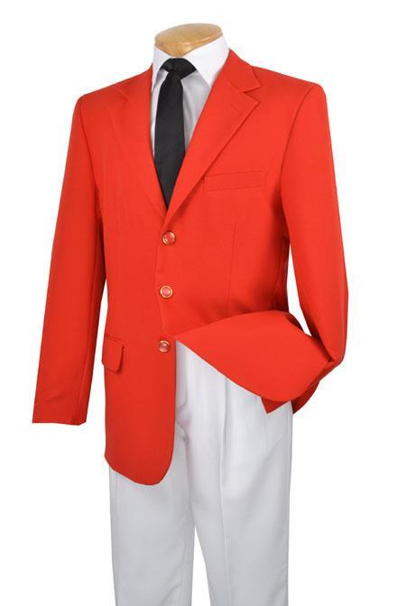 Retro Clothing for Men | Vintage Men's Fashion Mens Three Button Single Breasted 100 Poplin Dacron Suit Red 46S $167.00 AT vintagedancer.com