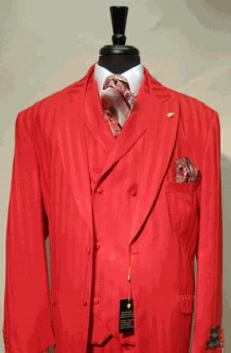 1960s Mens Suits | 70s Mens Disco Suits Covered Button Suit Wide Leg Pant Wool-feel Red Mens Jacket and Vest $167.00 AT vintagedancer.com