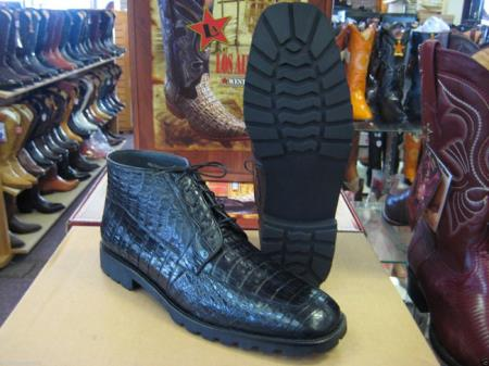 Genuine All Crocodile Caiman Black Men Ankle Boot