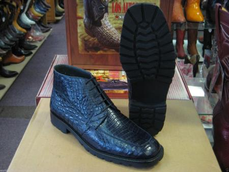 Genuine All Crocodile Caiman Navy Blue Men Ankle Boot