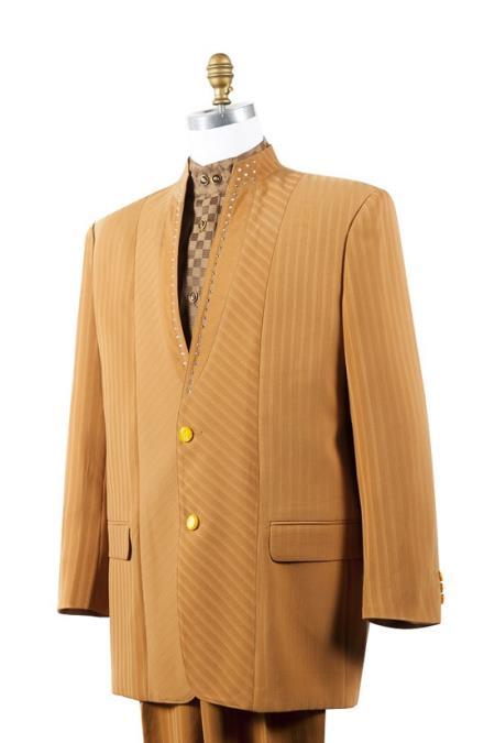 1960s -1970s Men's Clothing Mandarin Collar Rhine stone Fashion Suit Rust  Peach 46S $167.00 AT vintagedancer.com