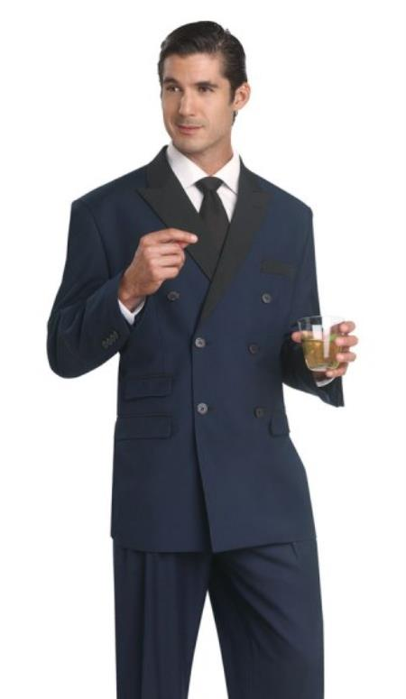 New Vintage Tuxedos, Tailcoats, Morning Suits, Dinner Jackets Tuxedo Dinner Jacket Blazer Suit With Black Lapel Pants Midnight Blue $177.00 AT vintagedancer.com