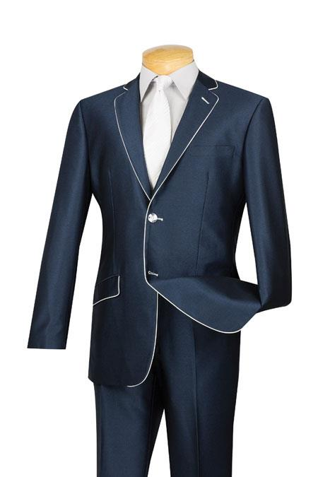 Men's Vintage Style Suits, Classic Suits Mens Slim Fit Blue White Trim Suits 46S $141.00 AT vintagedancer.com