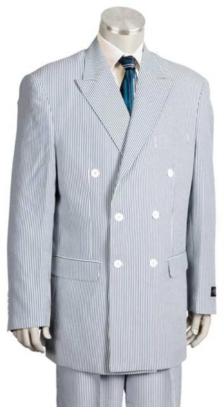 1920s Mens Suits | Gatsby, Gangster, Peaky Blinders Seersucker Suit - Double Breasted Suit Vented Mens Suit Blue 40L $201.00 AT vintagedancer.com