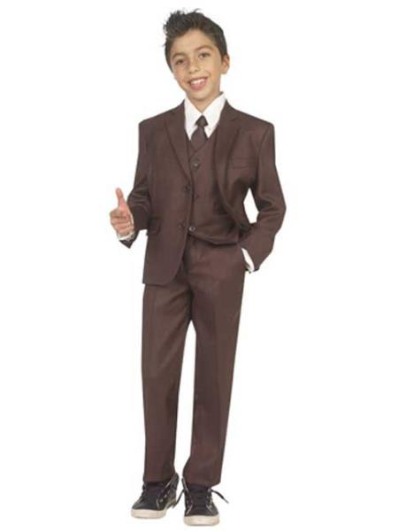 Vintage Style Children's Clothing: Girls, Boys, Baby, Toddler Boys Five Piece Suit With VestShirt And Tie Brown 46S $81.00 AT vintagedancer.com