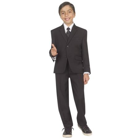 Vintage Style Children's Clothing: Girls, Boys, Baby, Toddler Boys Five Piece Suit With VestShirt And Tie Black 46S $81.00 AT vintagedancer.com