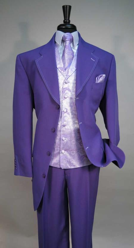 1940s Zoot Suit History & Buy Modern Zoot Suits Mens 4 Button Suit Jacket Bold Paisley Vest Matching Tie Hankie Purple $127.00 AT vintagedancer.com