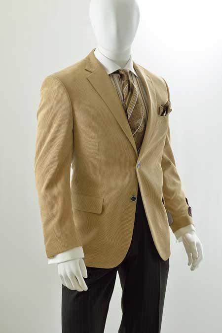 1960s Mens Suits | Mod, Skinny, Nehru Mens Corduroy Blazer - Modern Fit Khaki 46S $101.00 AT vintagedancer.com