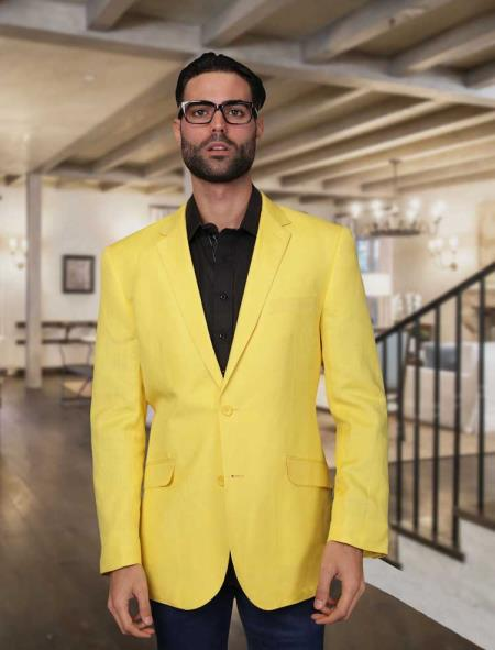 1970s Men's Suits History | Sport Coats & Tuxedos Mens Summer Linen Light Weight Blazer  Sport coat  Jacket Yellow 46S $177.00 AT vintagedancer.com