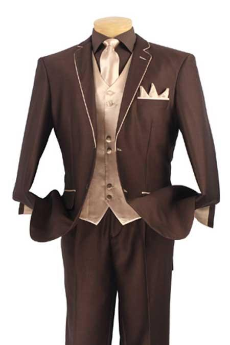 Men's Steampunk Jackets, Coats & Suits Tuxedo Fashion Elegance Brown With Champagne Beige 46S $592.00 AT vintagedancer.com