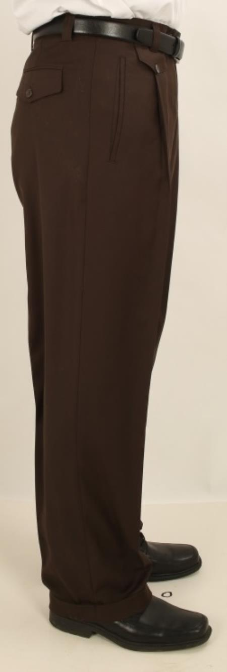 1950s Men's Clothing Single Pleated Wide Leg Pants Wool feel Dark Brown Men TrousersSlack $77.00 AT vintagedancer.com