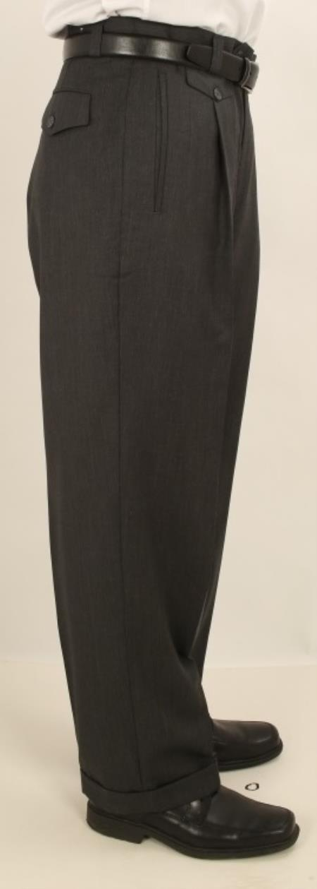 Men's Vintage Pants, Trousers, Jeans, Overalls Single Wide Leg Pants Wool-feel Charcoal Gray TrousersSlacks Cheap $77.00 AT vintagedancer.com