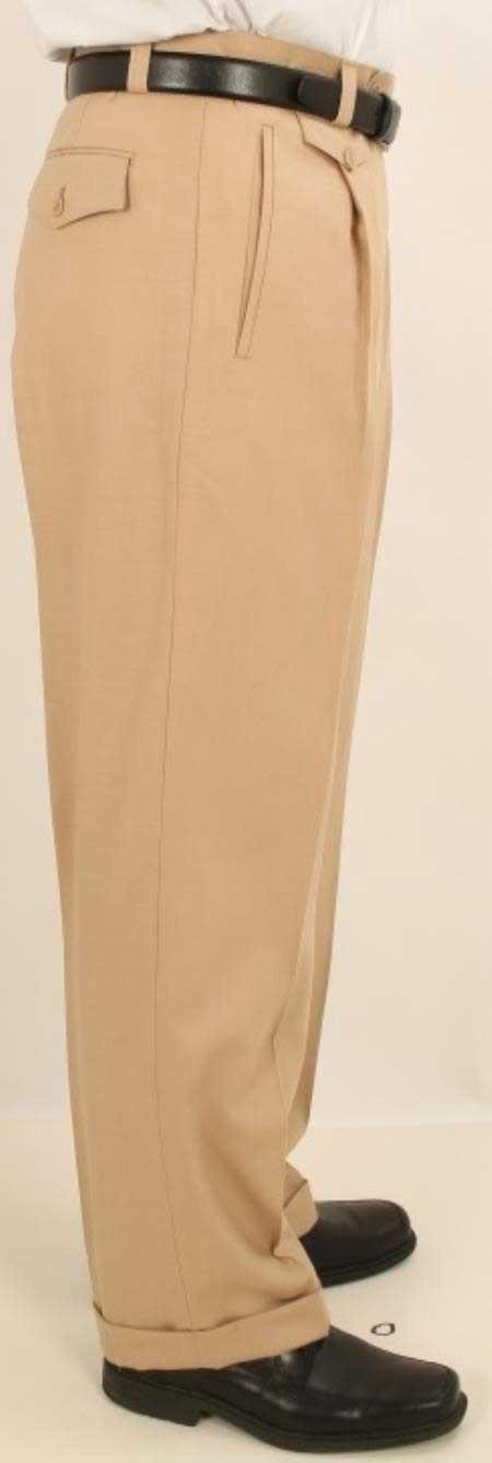 1950s Men's Clothing Single Wide Leg Pants Wool-feel Solid Beige Mens TrousersSlacks $77.00 AT vintagedancer.com