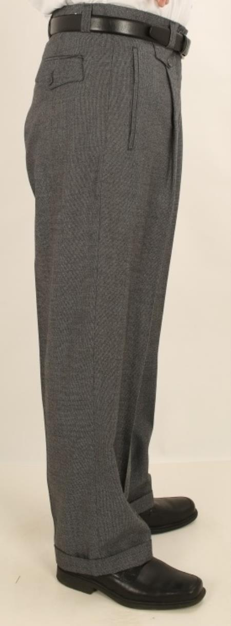 1930s Mens High Waisted Pants, Wide Leg Trousers Single Pleated Wide Leg Pants Shark Skin Gray Mens TrousersSlacks $77.00 AT vintagedancer.com