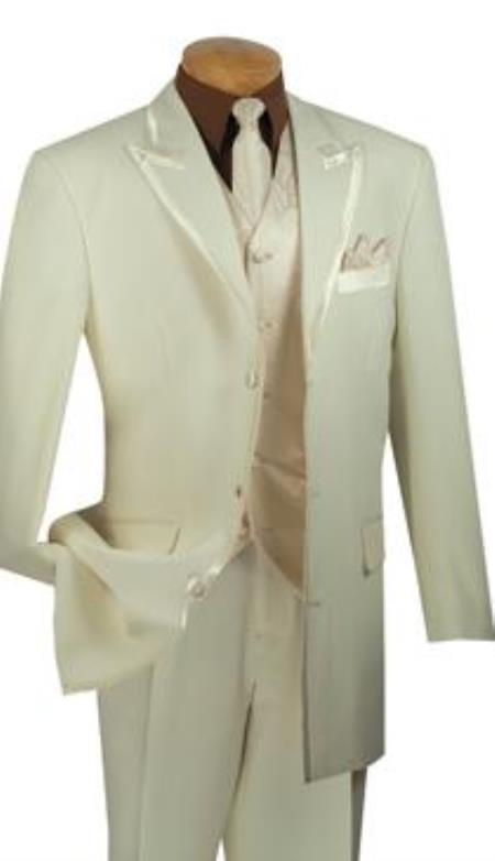 1970s Men's Suits History | Sport Coats & Tuxedos Mens 3Button Peak Lapel 4Piece Suit or Tuxedo Ivory Free Matching Tie $151.00 AT vintagedancer.com